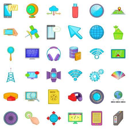 mov: Web development icons set, cartoon style