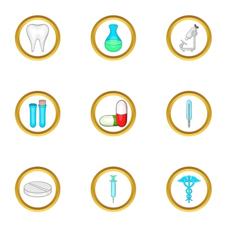 oculista: Medical laboratory icon set. Cartoon set of 9 medical laboratory vector icons for web isolated on white background Vectores