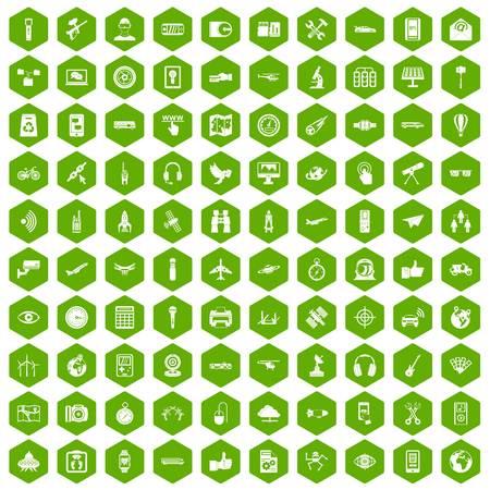 gps device: 100 wireless technology icons hexagon green