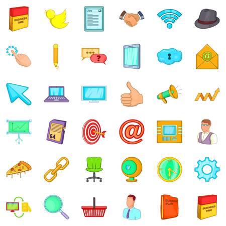 Work space icons set, cartoon style