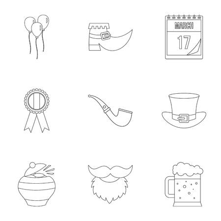 gold buckle: St. Patrick holiday icon set, outline style Illustration