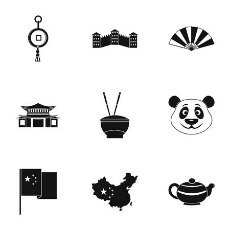 chinatown: China travel icon set, simple style