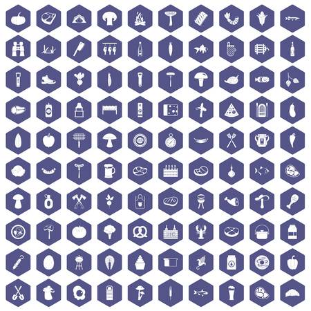 bbq barrel: 100 barbecue icons set in purple hexagon isolated vector illustration Illustration