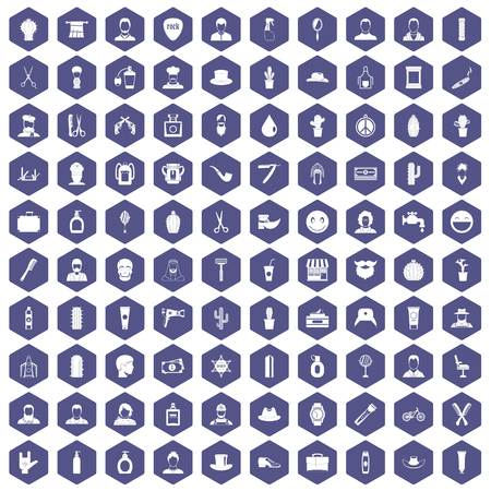 100 barber icons set in purple hexagon isolated vector illustration Illustration