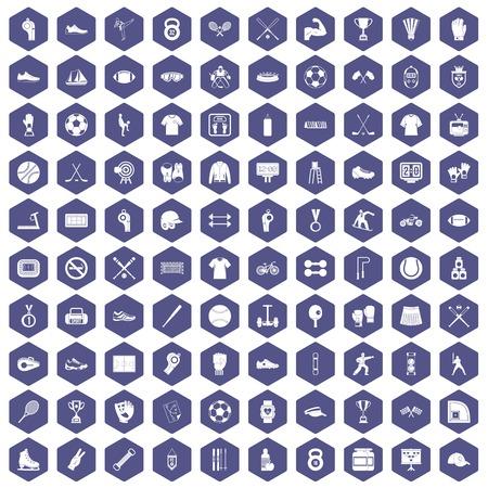 100 die atletenpictogrammen in purpere hexagon geïsoleerde vectorillustratie worden geplaatst
