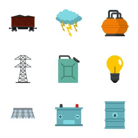 Power industry icon set. Flat style set of 9 energy sources vector icons for web isolated on white background Illustration