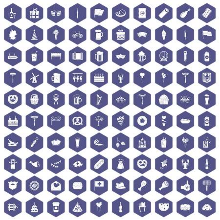 bbq barrel: 100 beer party icons set in purple hexagon isolated vector illustration