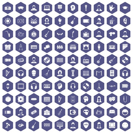 100 audience icons set in purple hexagon isolated vector illustration
