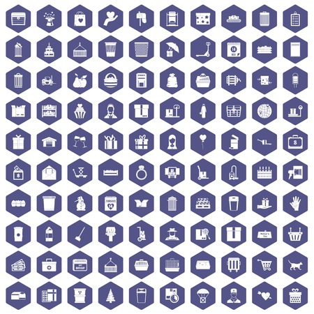 rubbish cart: 100 box icons set in purple hexagon isolated vector illustration