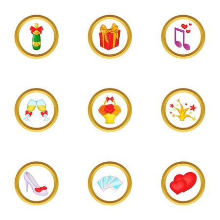 Wedding icons set. Cartoon set of 9 wedding vector icons for web isolated on white background