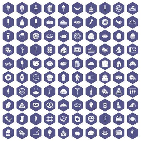 100 calories icons set in purple hexagon isolated vector illustration