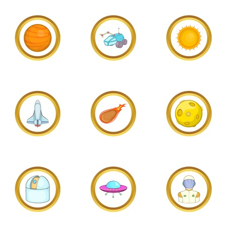 Space technology icons set. Cartoon set of 9 space technology vector icons for web isolated on white background Illustration