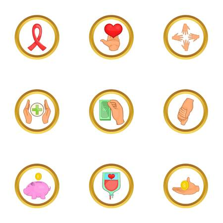 Donation icons set. Cartoon set of 9 donation vector icons for web isolated on white background