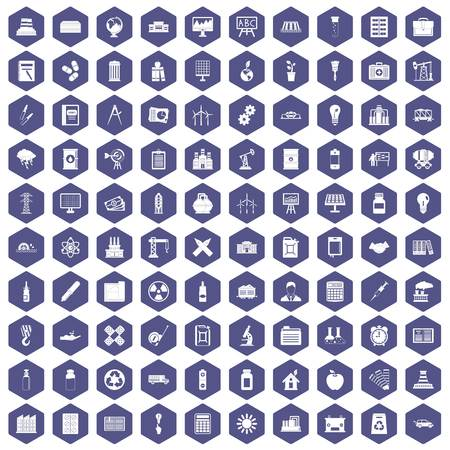 drill: 100 company icons set in purple hexagon isolated vector illustration