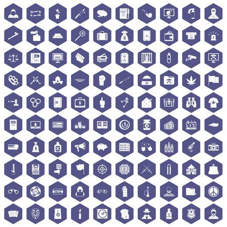 100 criminal offence icons set in purple hexagon isolated vector illustration