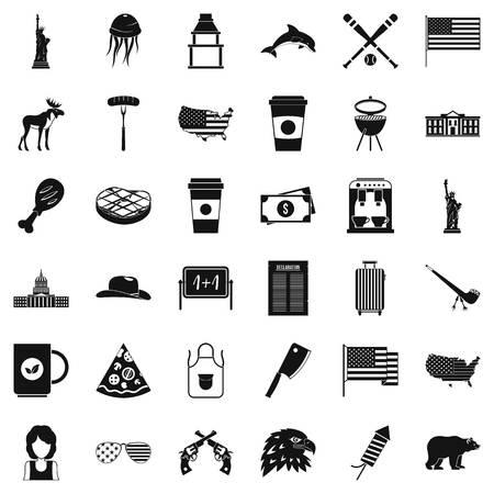 미국의 아이콘을 설정합니다. 흰색 배경에 고립 된 웹에 대 한 36 미국 벡터 아이콘의 간단한 스타일