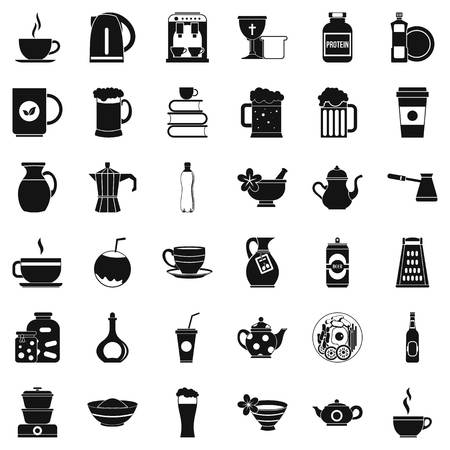Dishes icons set. Simple style of 36 dishes vector icons for web isolated on white background
