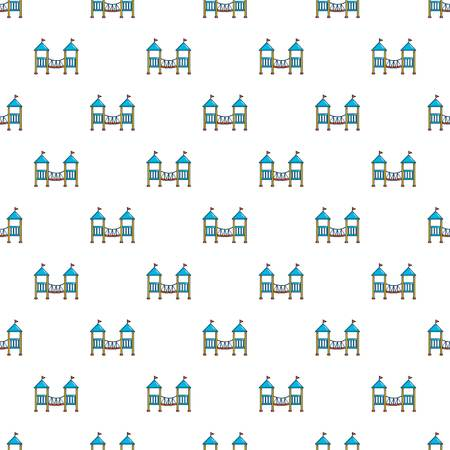 Two castle kid pattern in cartoon style. Seamless pattern vector illustration