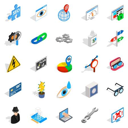 automotive industry: Technology of the future icons set. Isometric set of 25 technology of the future vector icons for web isolated on white background Illustration