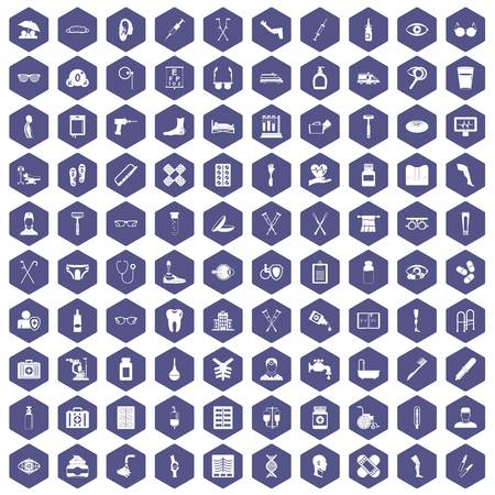 eyepiece: 100 disabled healthcare icons set in purple hexagon isolated vector illustration