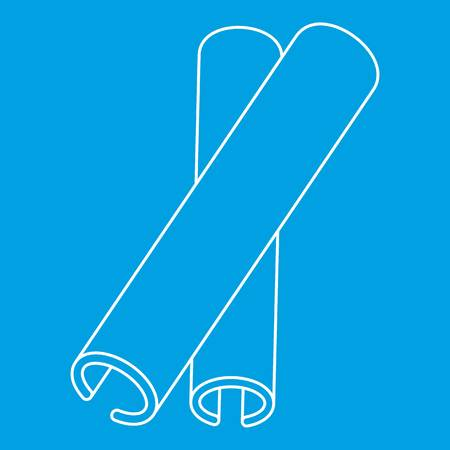 Cinnamon stick spice icon blue outline style isolated vector illustration. Thin line sign