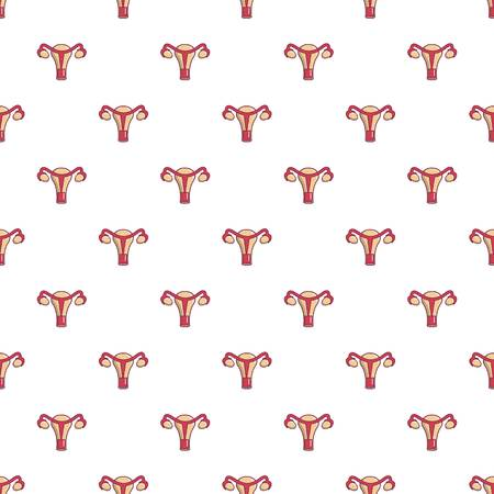 Female reproductive system pattern in cartoon style. Seamless pattern vector illustration Ilustração
