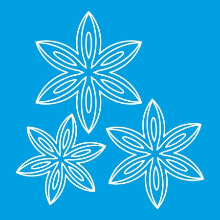 Anise icon blue outline style isolated vector illustration. Thin line sign Illustration