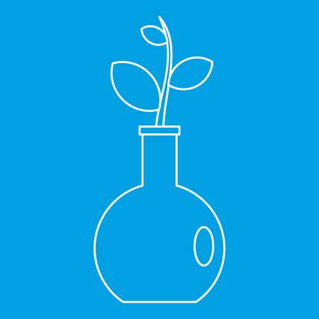Seedling in a vase icon blue outline style isolated vector illustration. Thin line sign