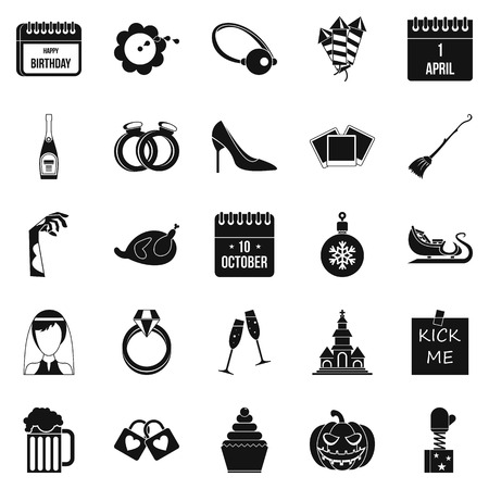 Precious gift icons set. Simple set of 25 precious gift vector icons for web isolated on white background Çizim