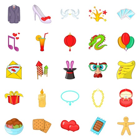Festive clothing icons set. Cartoon set of 25 festive clothing vector icons for web isolated on white background