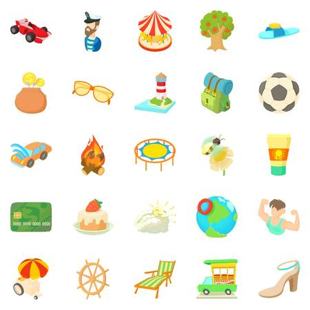 Carefree vacation icons set. Cartoon set of 25 carefree vacation vector icons for web isolated on white background