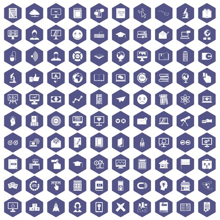 100 e-learning icons set in purple hexagon isolated vector illustration