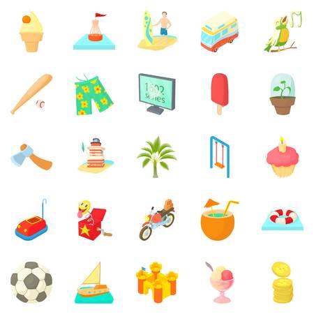 Carefree life icons set. Cartoon set of 25 carefree life vector icons for web isolated on white background Çizim
