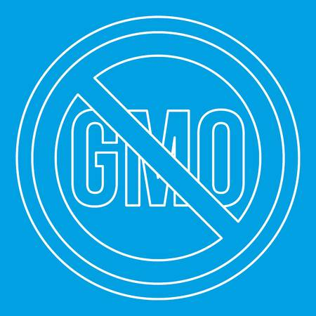 modification: No GMO sign icon blue outline style isolated vector illustration. Thin line sign