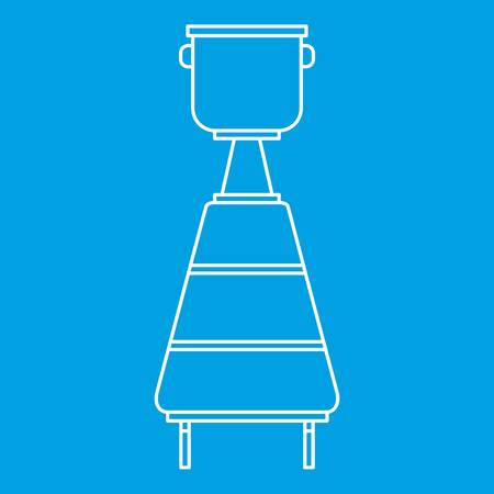ferment: Wine container icon blue outline style isolated vector illustration. Thin line sign