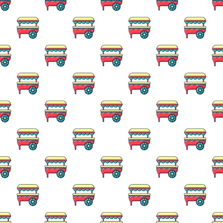 Ice cream cart pattern in cartoon style. Seamless pattern vector illustration