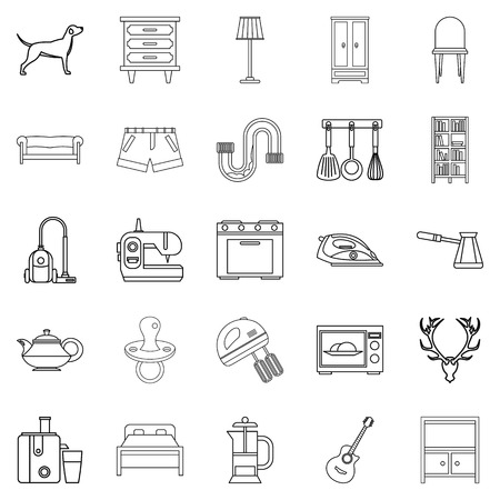 office building: Bedroom icons set. Outline set of 25 bedroom vector icons for web isolated on white background