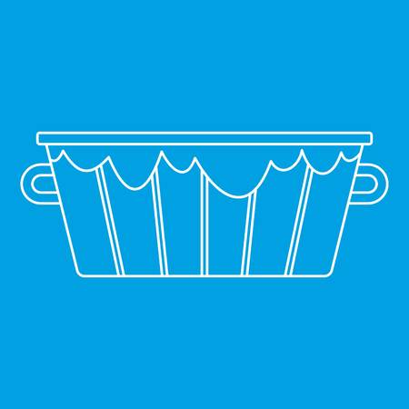 Wooden bucket icon blue outline style isolated vector illustration. Thin line sign