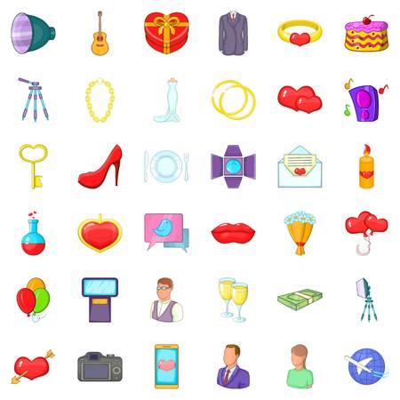 champagne celebration: Good wedding icons set. Cartoon style of 36 good wedding vector icons for web isolated on white background Illustration