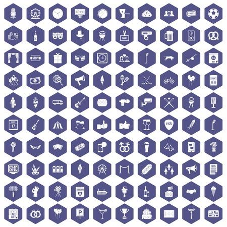 100 die gebeurtenissenpictogrammen in purpere hexagon geïsoleerde vectorillustratie worden geplaatst