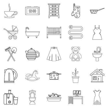 home office interior: Large room icons set. Outline set of 25 large dining room vector icons for web isolated on white background