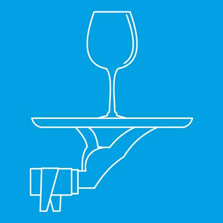 champagne celebration: Glass of wine on a tray icon blue outline style isolated vector illustration. Thin line sign