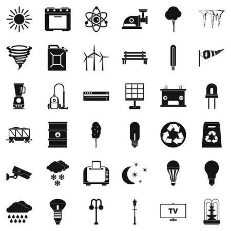 Jeu d'icônes de moulin à vent d'agriculture. Style simple de 36 icônes de vecteur de moulin à vent de l'agriculture pour le web isolé sur fond blanc Banque d'images - 83593038