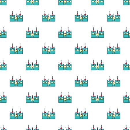 Bouncy castles pattern in cartoon style. Seamless pattern vector illustration