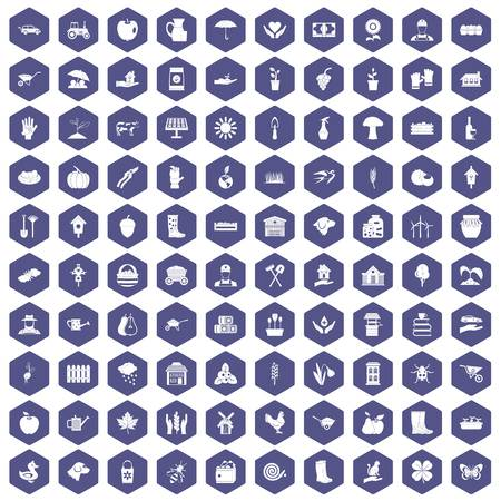 100 farm icons set in purple hexagon isolated vector illustration Illustration