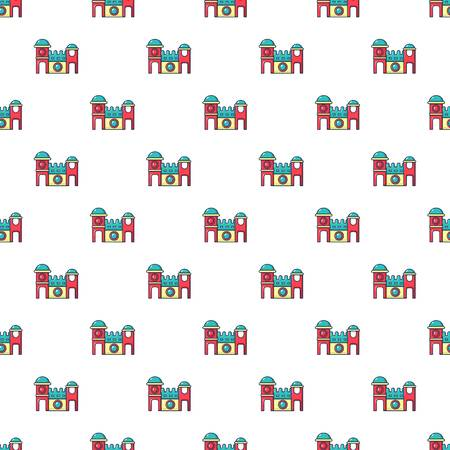 Bounce house pattern in cartoon style. Seamless pattern vector illustration