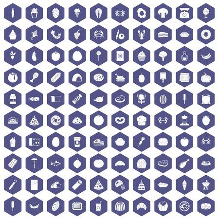 100 icônes de nourriture préférées dans l'illustration hexagonale hexagonale isolée Vecteurs