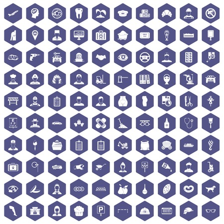 drill: 100 favorite work icons set in purple hexagon isolated vector illustration