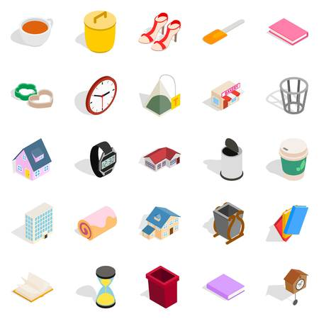 home office interior: Peasant house icons set. Isometric set of 25 peasant house vector icons for web isolated on white background Illustration