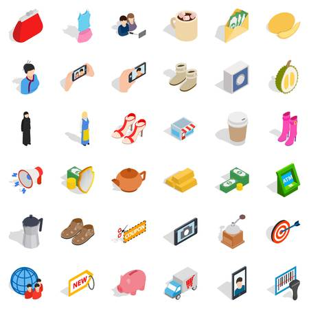 Woman food icons set. Isometric style of 36 woman food vector icons for web isolated on white background